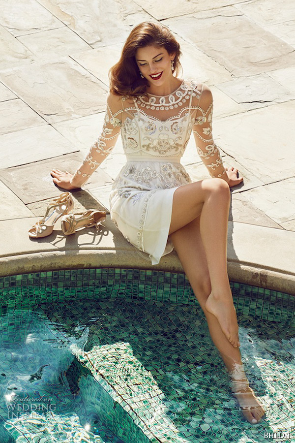 bhldn spring 2015 wedding dresses long sleeves filigree indian inspired jewel neckline ivory mini bridal dress garden scatter villa sophia california photo shoot
