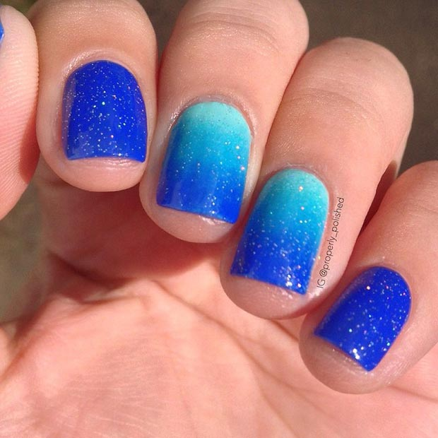 Sparkly Blue Ombre Nails