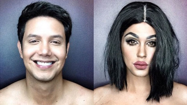 Paolo Ballesteros as himself (left) and Kylie Jenner (right).