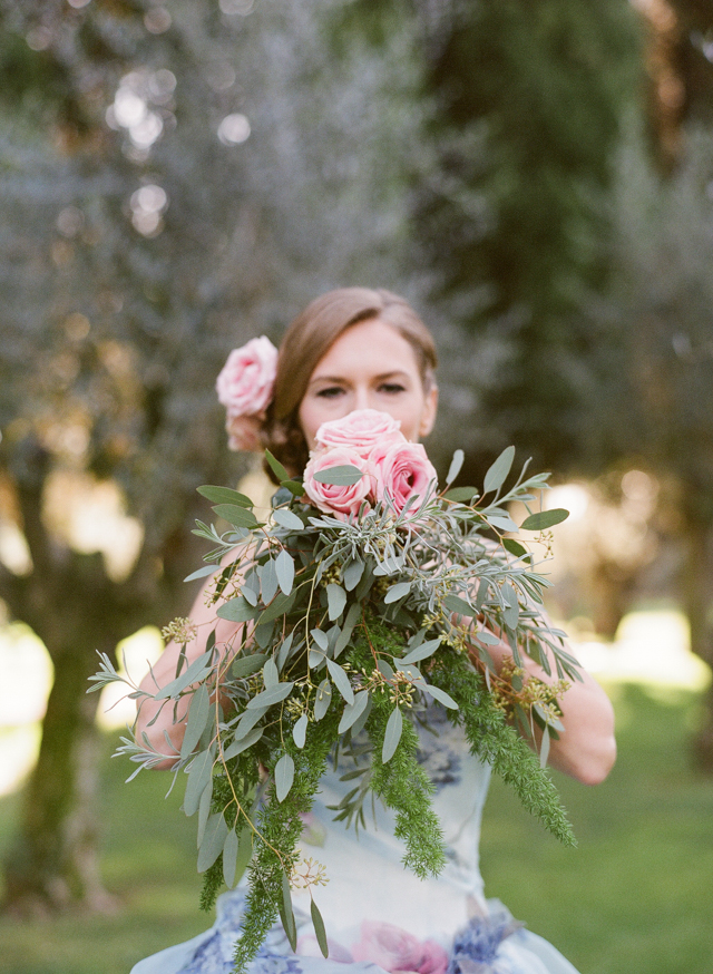 Pink and green bridal bouquet | Rochelle Cheever Photography | see more on: http://burnettsboards.com/2015/03/floral-inspired-roman-villa-wedding/