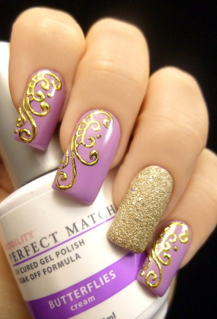 Gold and Purple Butterfly Nail Design