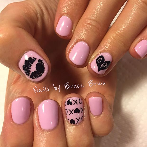Pink and Black Valentines Day Nails