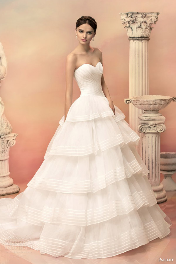 papilio bridal 2015 euridika strapless ball gown wedding dress tiered ruffle organza stripe skirt