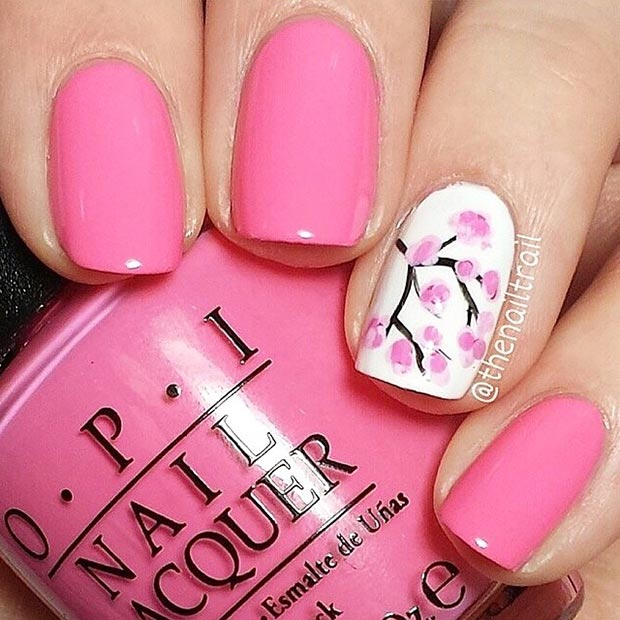 Pink Spring Cherry Blossom Nail Design