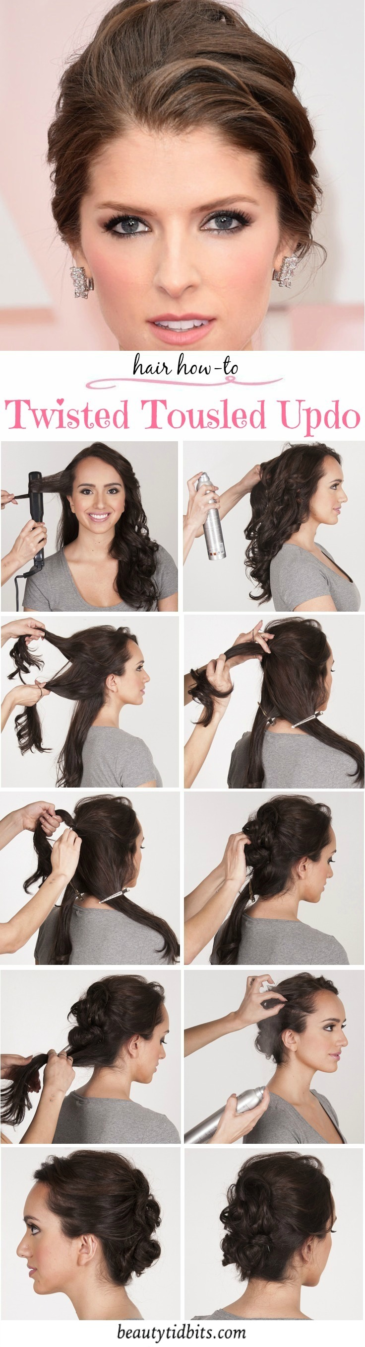 Check out this step by step hair tutorial for how to re-create this gorgeous Twisted Tousled Updo look inspired by Anna Kendrick at Oscars 2015.
