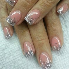 Embellished Pink and Silver Nail Design