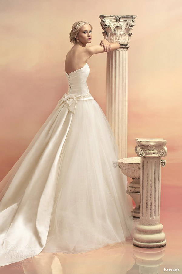 papilio bridal 2015 atlanta strapless ball gown wedding dress detachable train back view