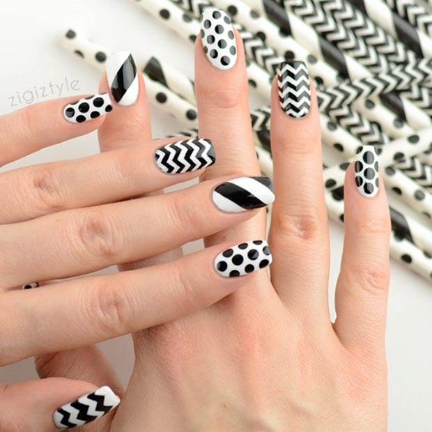 Black and White Pattern Nails