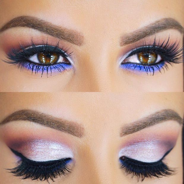 Silver Eyes with Purple Under Eye Makeup
