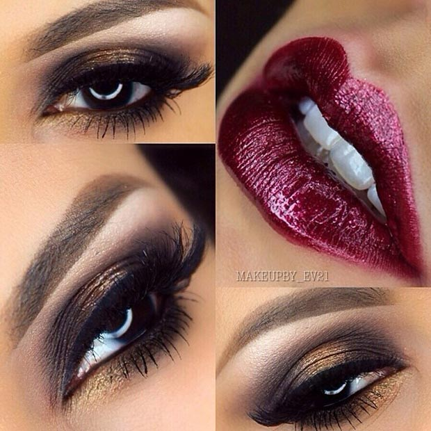 Dark Gold Eye Makeup with Dark Lips