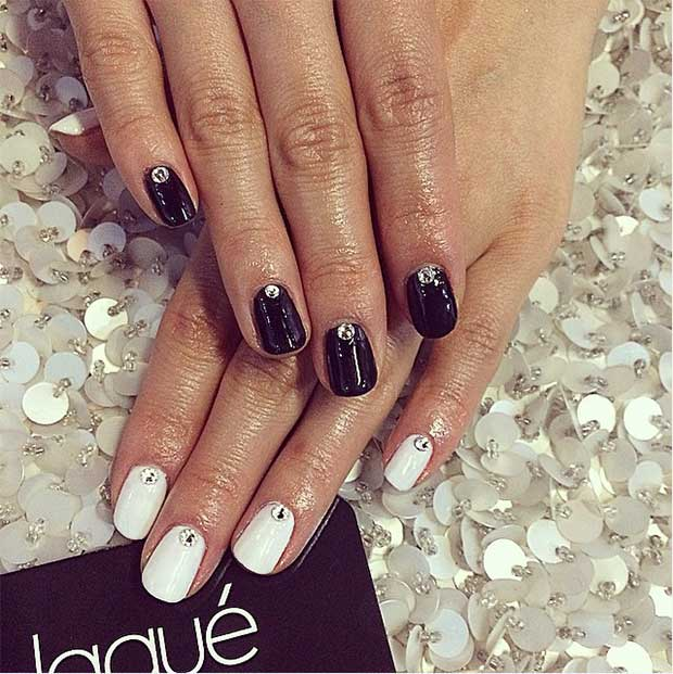 Simple Black and White Nail Design with Rhinestones