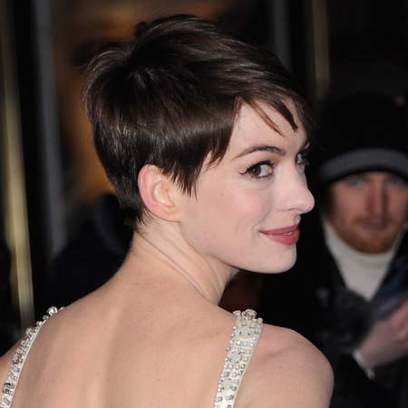 Anne Hathaway Side Pixie Cut Hairstyle