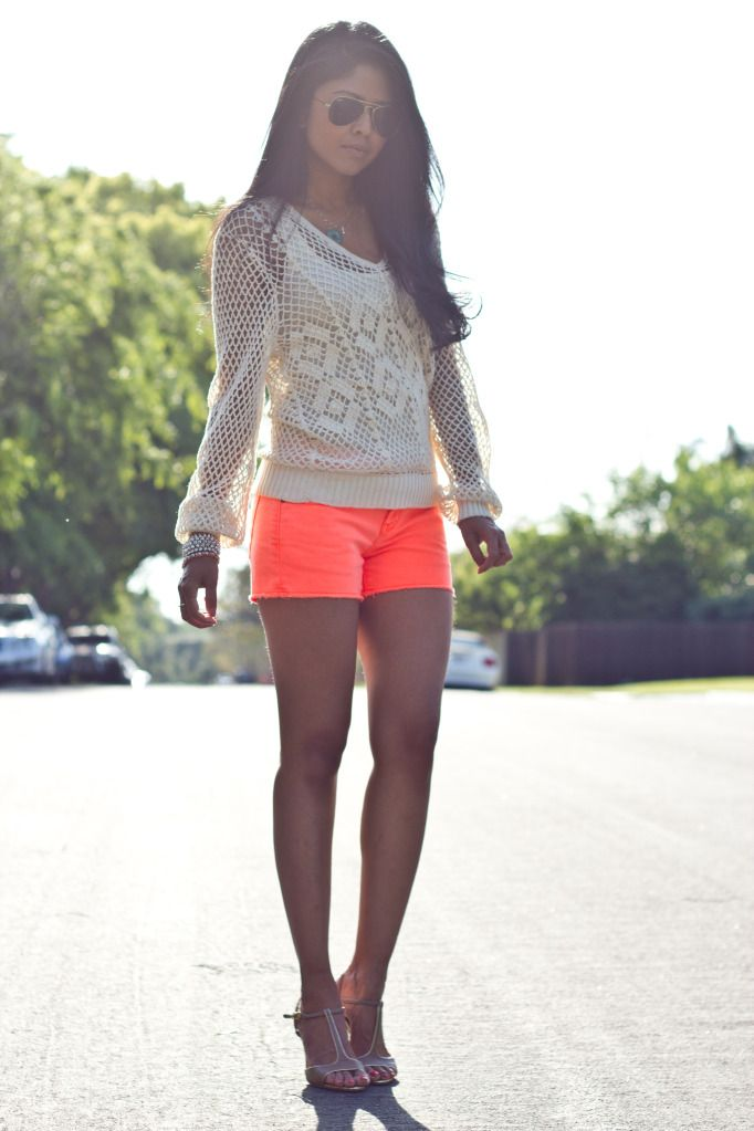 bright neon orange shorts Gorgeous Colors You Need to Add to Your Closet Right Now