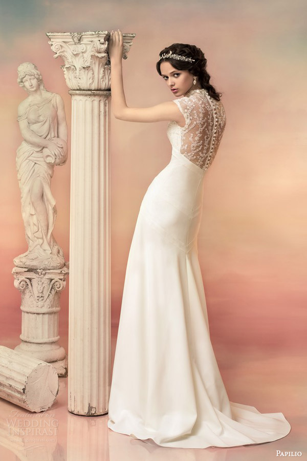 papilio bridal 2015 dionissia sheath wedding dress beaded lace cap sleeve bodice back view