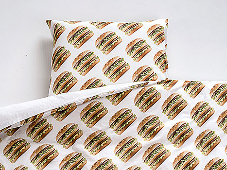 The Big Mac collection has comforters covered in burgers.
