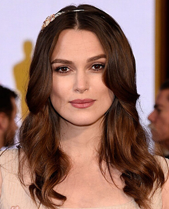 Keira Knightley's romantic waves with a sparkle