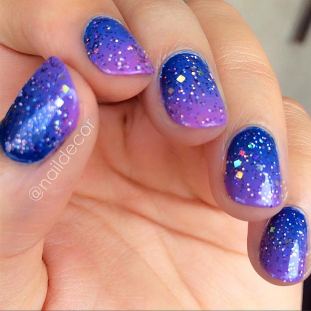 Blue Glitter Ombre Nails