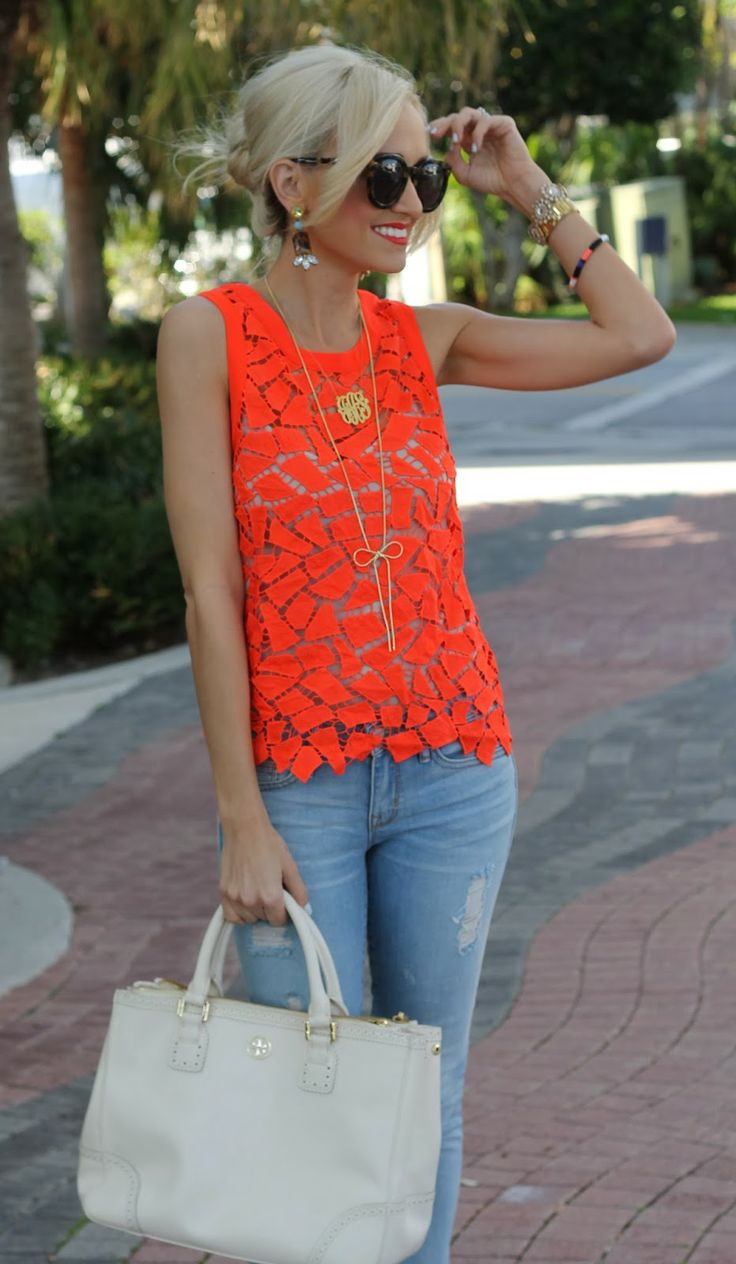 bright orange lace top Gorgeous Colors You Need to Add to Your Closet Right Now