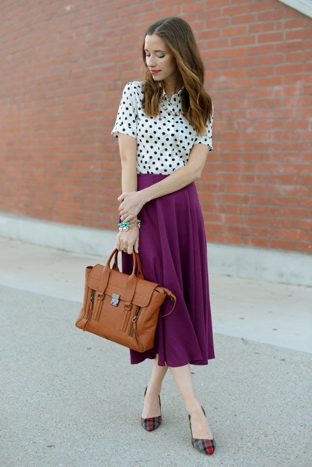 polka dots and plaid Mix Print Combos to Wear this Spring