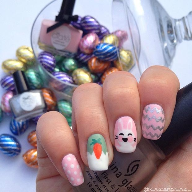 White and Pink Easter Nail Art Design
