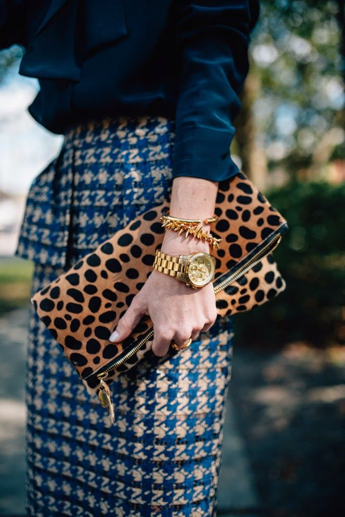 houndstooth and leopard Mix Print Combos to Wear this Spring