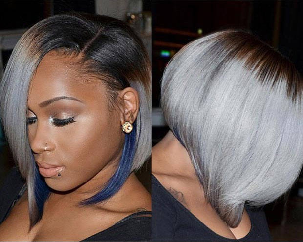 Straight Grey Bob with Blue Highlights