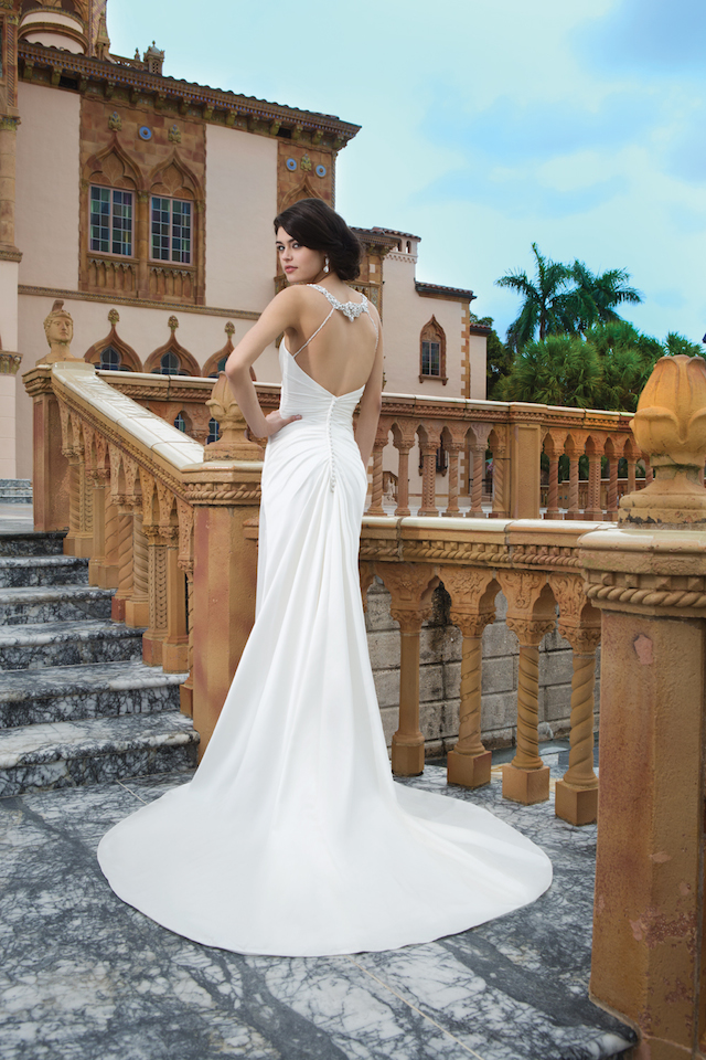 Ivory satin backless wedding dress from Sincerity