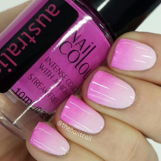 Pink Ombre Short Nails