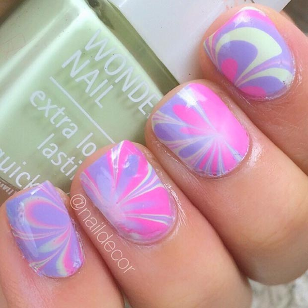 Pink and Purple Marble Nail Design