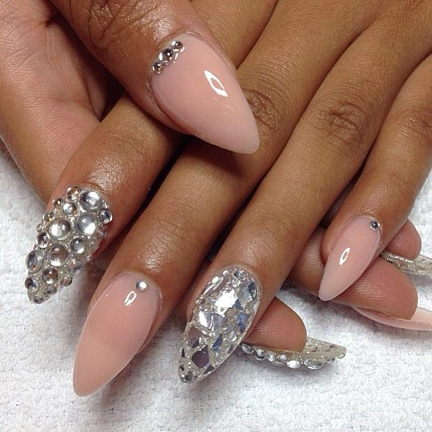 Nude Rhinestones Stiletto Nails