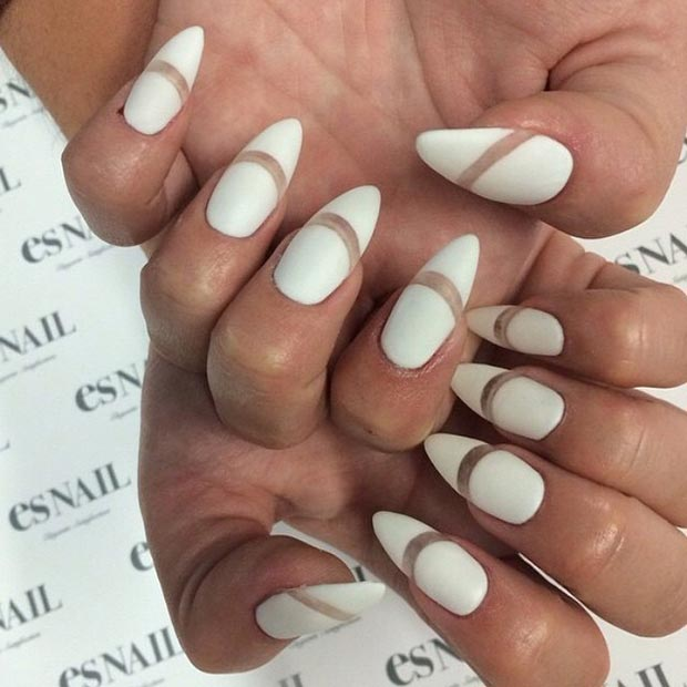 White Matte Negative Space Stiletto Nails