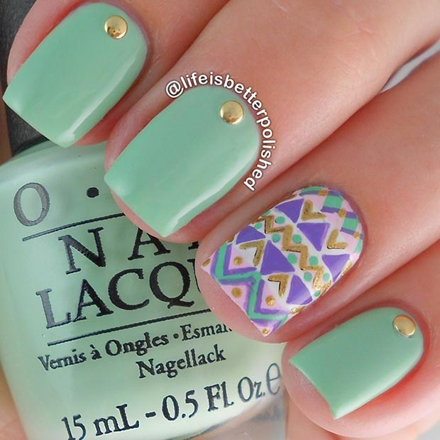 Mint Nails with Gold Studs