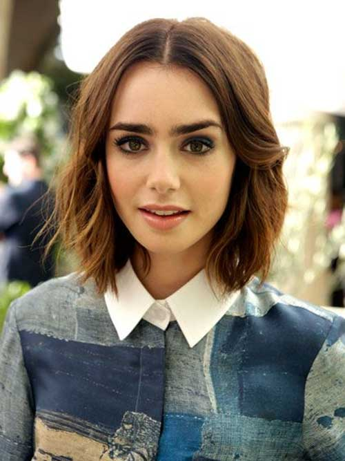 Lily Collins Hairstyles Bob Cut