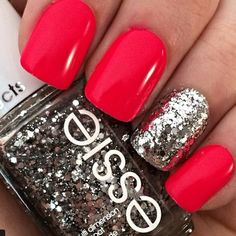 Silver Nail Design for Red Nails