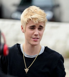 Justin Bieber Blonde Hair Color with Up Bangs