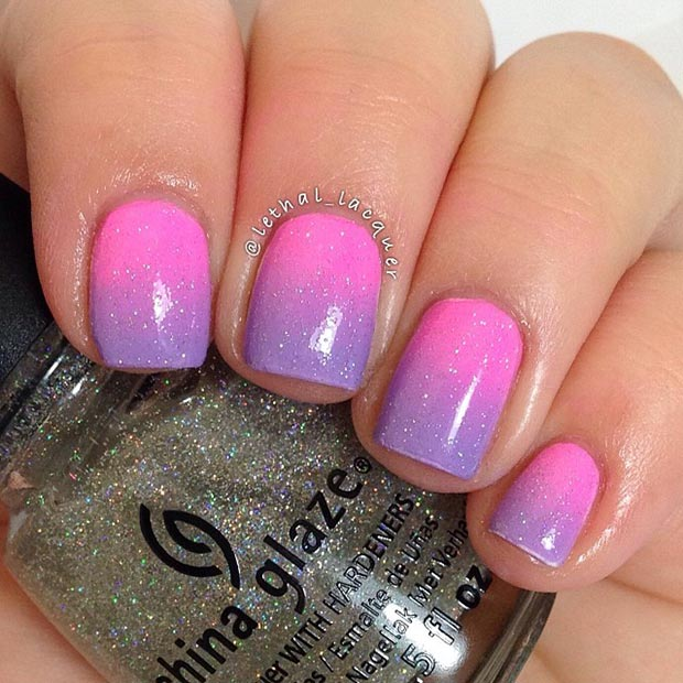 Purple and Pink Gradient Sparkly Nail Design