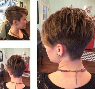 Layered Pixie Hair Cut: One Side Shaved Hairstyles for Short Hair