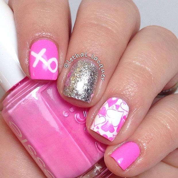 Pink and Silver Valentines Day Nails