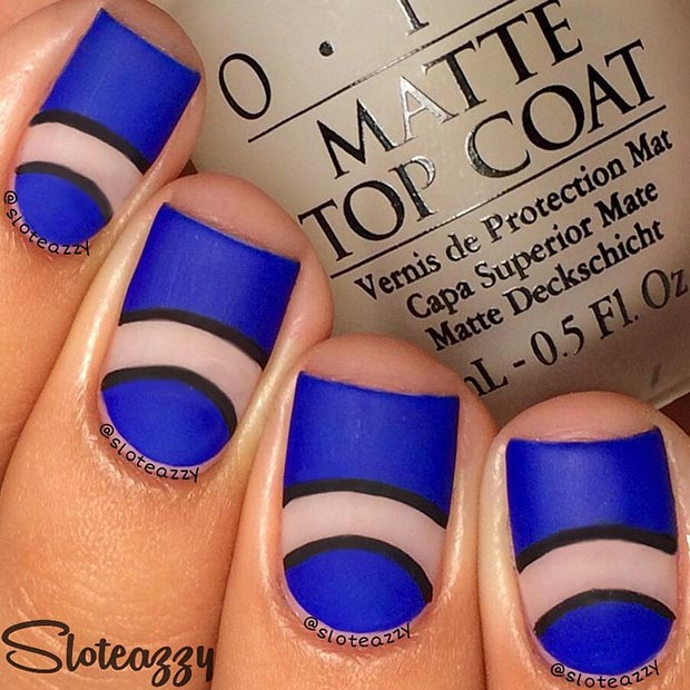 Blue Matte Nail Design for Short Nails