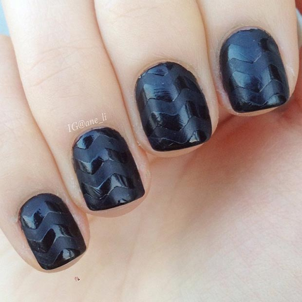 Black Matte Nail Design for Short Nails