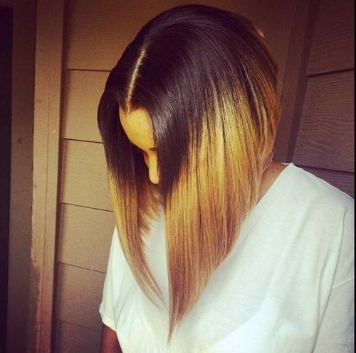 Long Straight Bob Hairstyle for Ombre Hair