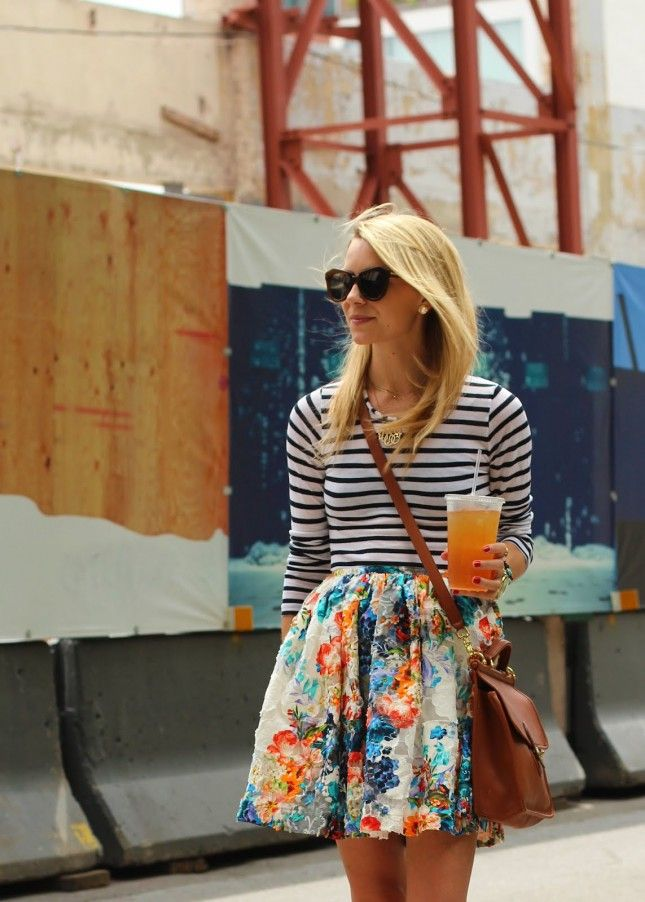 floral and stripes Mix Print Combos to Wear this Spring