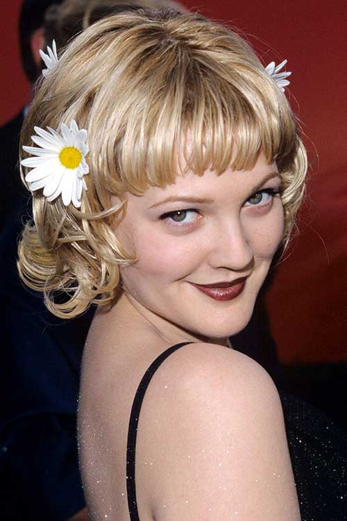 Drew Barrymore's Cutest Bang Cut Hair with Flowers