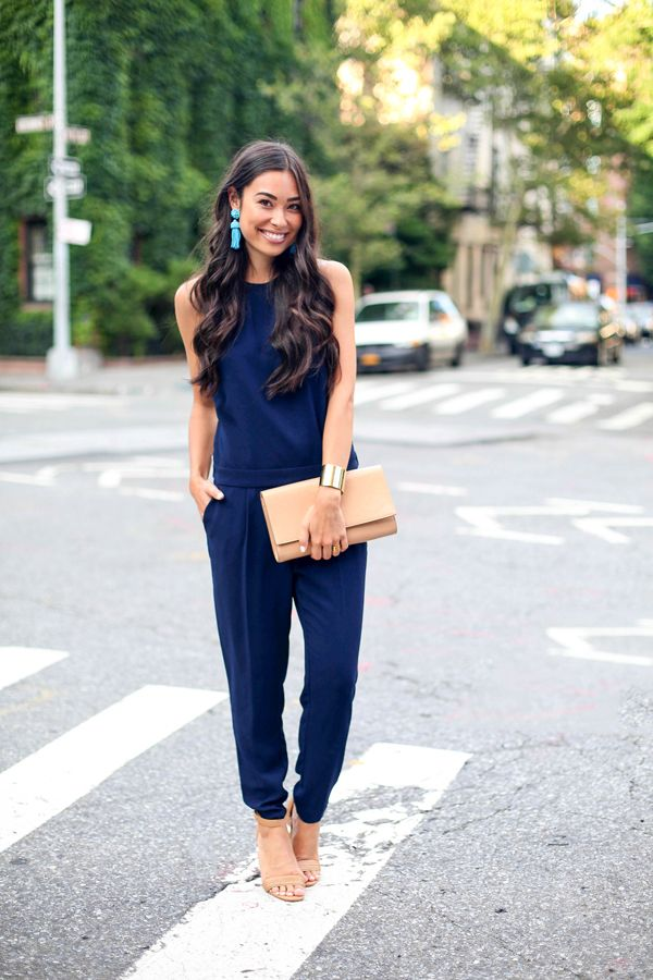 jumpsuit in navy blue What to Wear as Guest to A Spring Wedding
