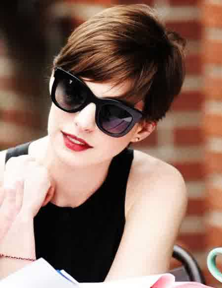 Anne Hathaway Pixie Cut Hairstyle Messy