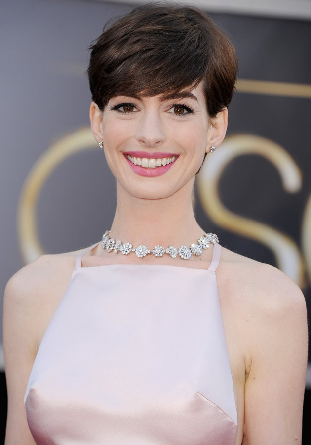 Anne Hathaway Pixie Cut Hairstyle with Bangs