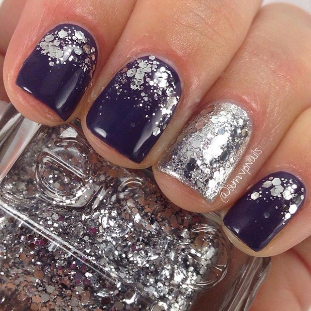 Dark Nail Design with Silver Glitter