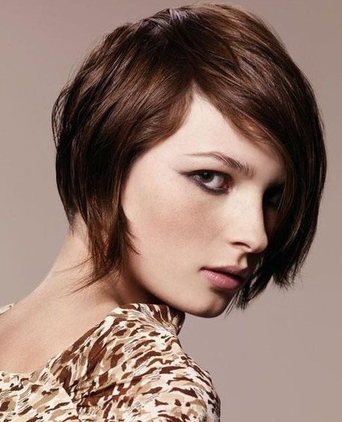 Short Wavy Hairstyle For Brunette Hair