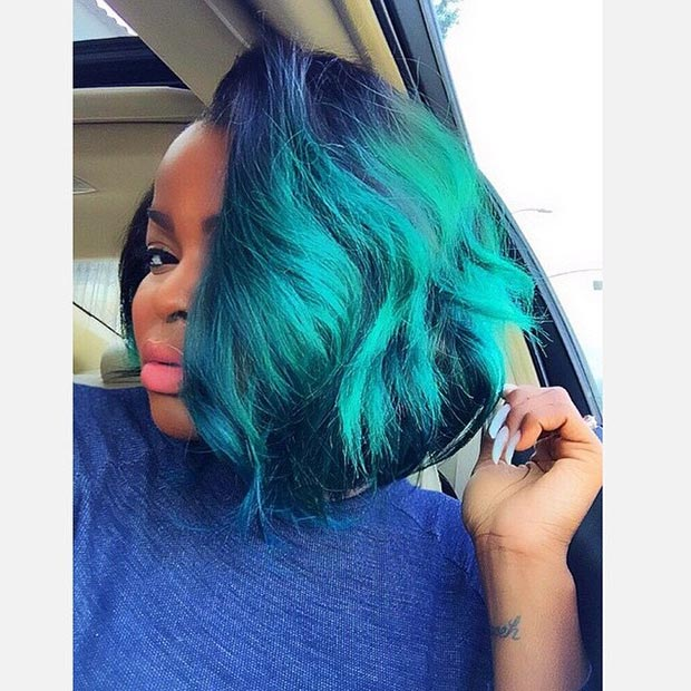 Green Bob Hairstyle for Black Women