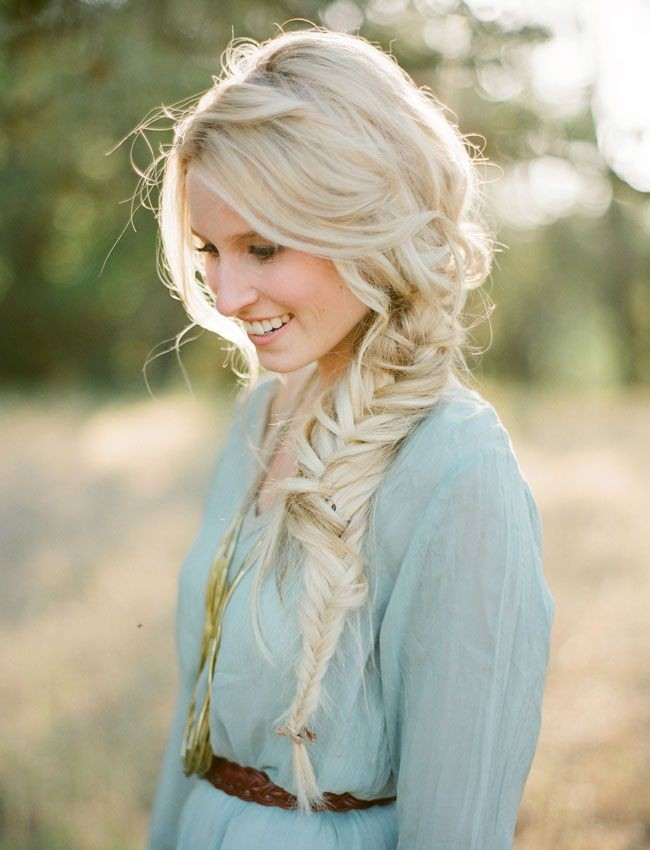 Messy, Loose Side Braid for Long Hair